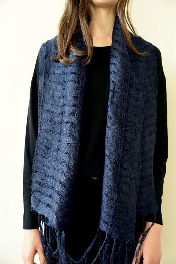 Agnès Krier Echarpe indigo galerie boutique ouvrage aix en provence