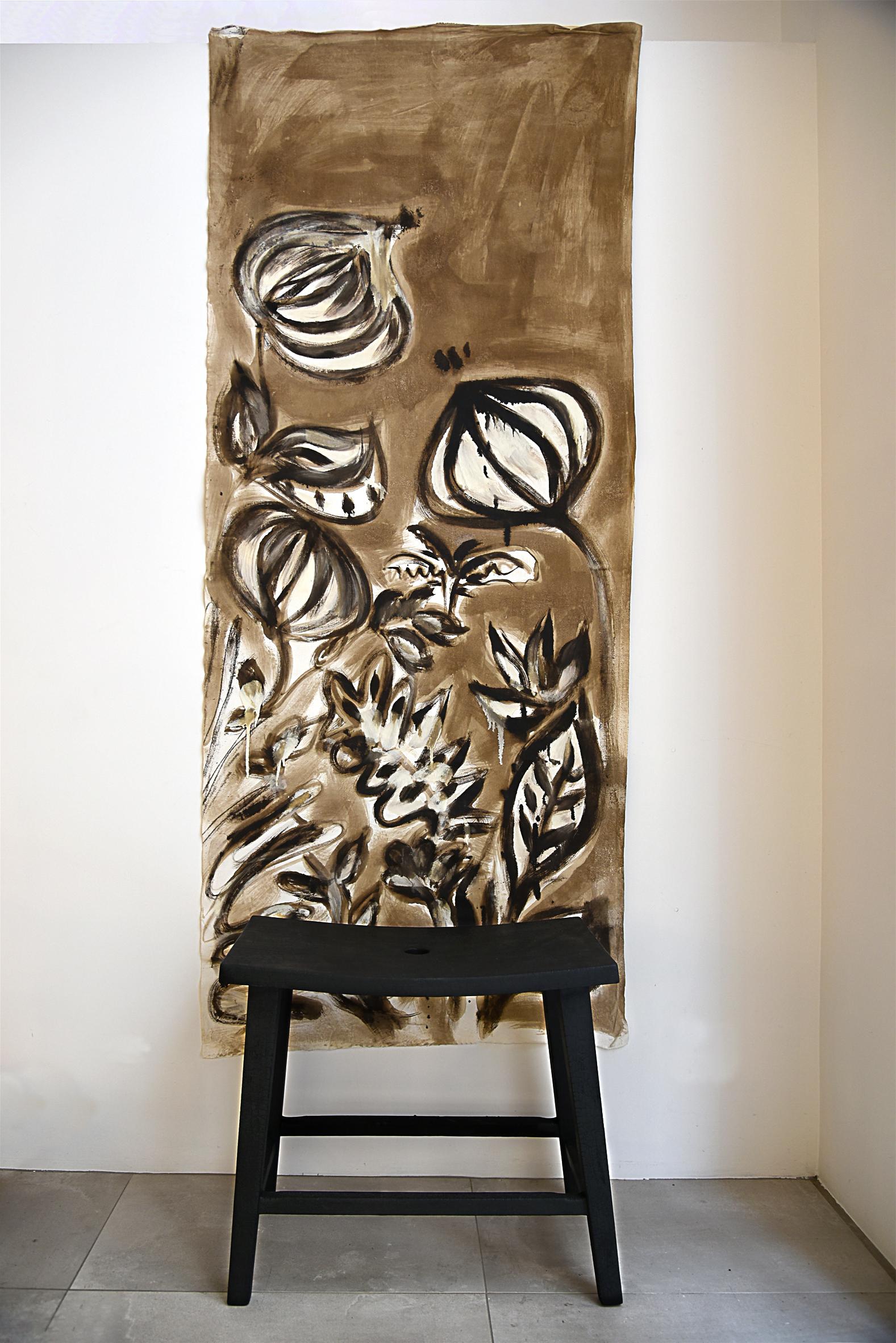 toile florale Anne Bacquié bitume de Judée galerie boutique ouvrage aix en provence